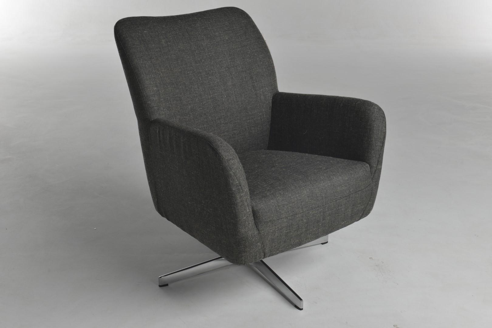 Design Fauteuil Chroom.Bolero Fauteuil Reststof Donkergrijs Draaipoot Glans